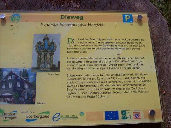 """Information über die """"Rindtorgel"""" und das ehemalige Hotel Ederlust"""