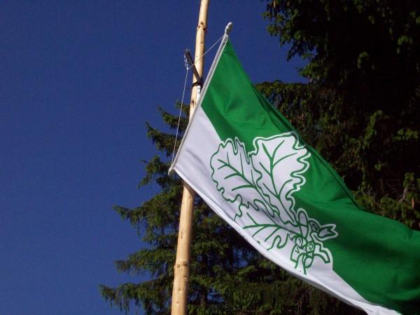 Die Vereinsfahne symbolisch mit einem Eichenblatt