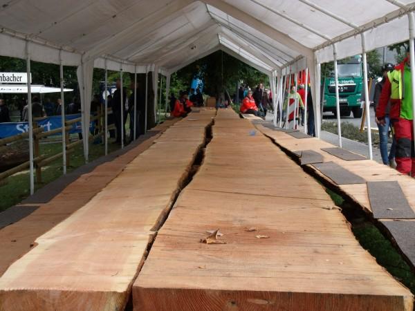 25 m, die längste Sitzgruppe der Welt, die Tischplatte ist aus einem Douglasien-Stamm gefertigt